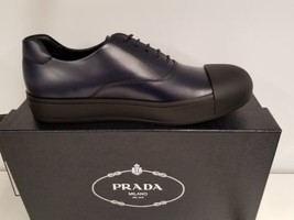 I AM IN LOVE! Prada Men's Navy/Black Leather Cap Toe Lace Up NEW Authent... - $468.27
