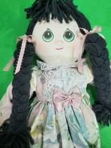 Vintage All Cloth Girl Doll ~ Floral Pastel Dress ~ Black Braids ~ Hand ... - $19.75