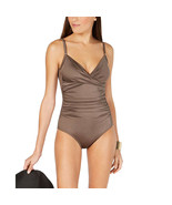 Calvin Klein Twist-Front Tummy-Control One-Piece Swimsuit, Bronze Shimme... - $54.44