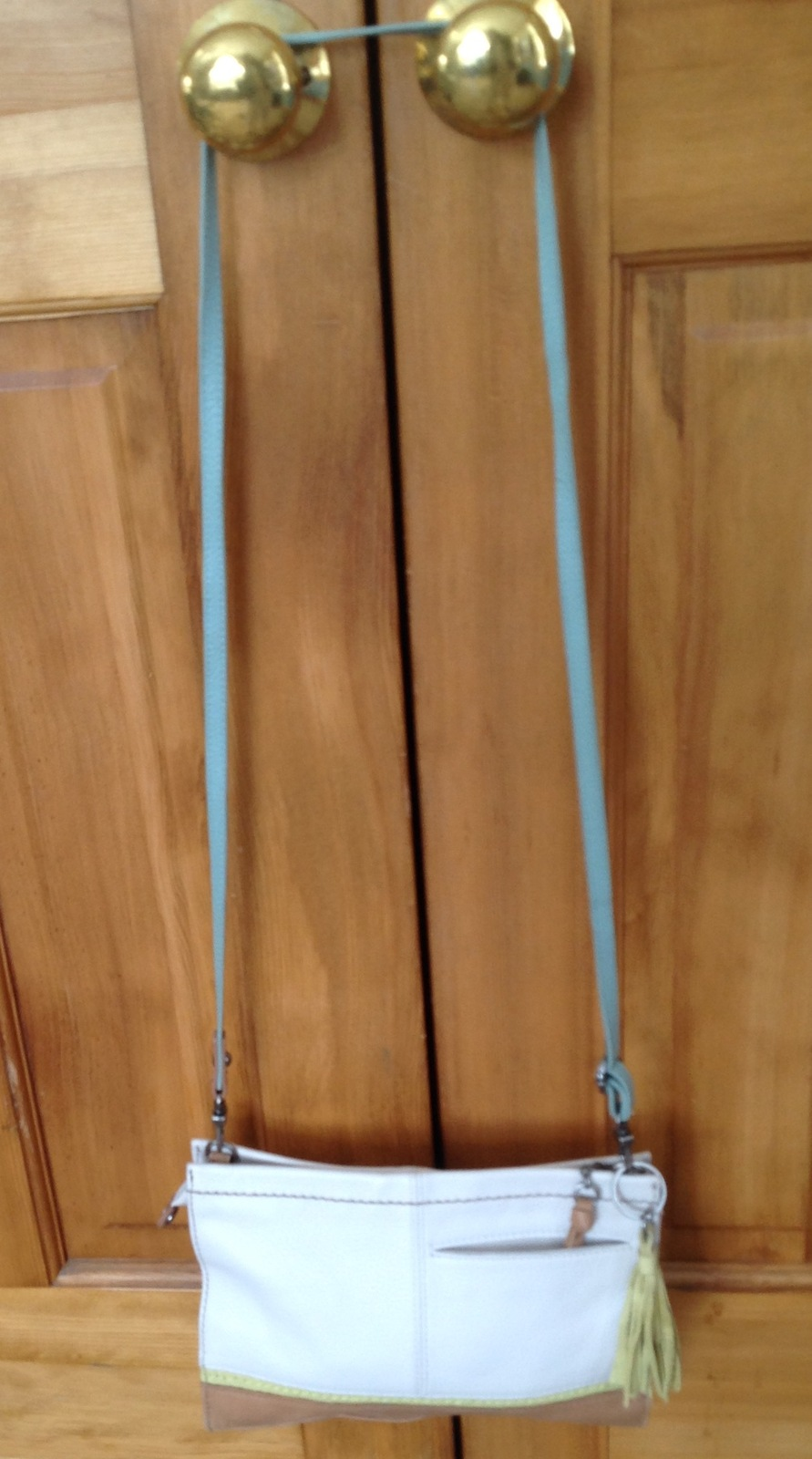 349c3ad9ddb6 The Sak Iris Multi-Color beige lime blue white crossbody clutch leather  handbag