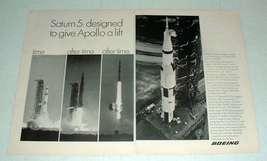 1969 Boeing Saturn 5 Rocket Ad w/ Apollo 9 - $14.99