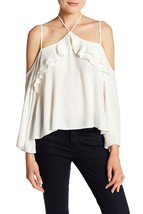 NEW ASTR the Label XS Marilyn Cold Shoulder Blouse Long Sleeve White $74 - $27.86