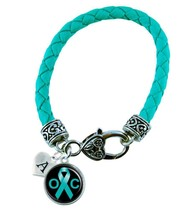 Custom Ovarian Cancer Awareness Teal Ribbon Leather Bracelet Jewelry Initial - $14.24