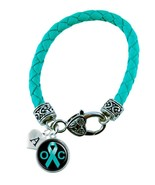 Custom Ovarian Cancer Awareness Teal Ribbon Leather Bracelet Jewelry Ini... - $14.24