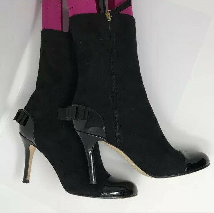 Primary image for Kate Spade Suede Cap Toe Bow Black Boots Size 8