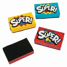 "Wooden Superhero Mini Dry Erase Erasers (12 Pack) 2 1/4"" x 1 1/2"" Super ... - $11.39"