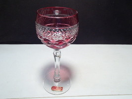 1 Nachtmann Ajka ?  Hand Cut Cranberry Wine Goblets ~ label ~ W. Germany - $34.95