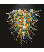 Stunning Large Multi Color Art Hand Blown Glass Chandelier,42''D x 35''H. - $1,480.05