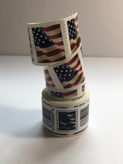 2 ROLLS OF 100 FOREVER USPS US FLAG POSTAGE STAMPS -FIRST CLASS MAIL