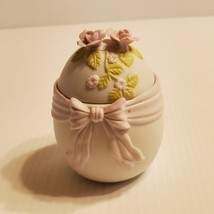 Lefton Hand Painted Egg Shaped Lidded Trinket Box Vintage 1984 #04087  - $20.00