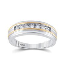 14k White Two-tone Gold Mens Round Channel-set Diamond Wedding Band 1/4 ... - $708.50