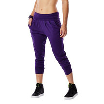 Zumba Fitness Women's Funky Cropped Harem Pant, Purple, Extra Small - $12.86