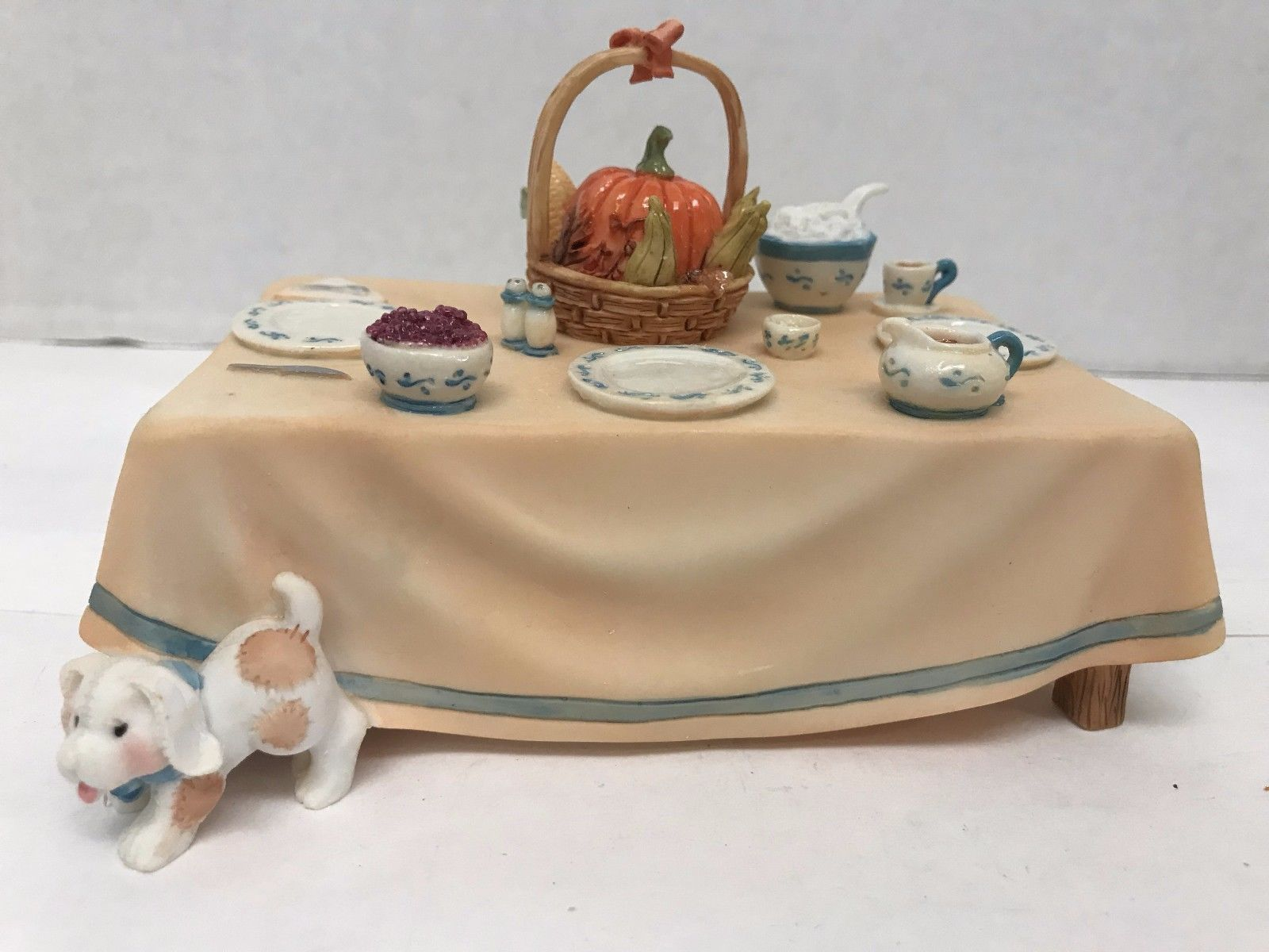 Primary image for Table Decoration Miniature Thanksgiving Table Cherished Teddies 141542  5X3X2