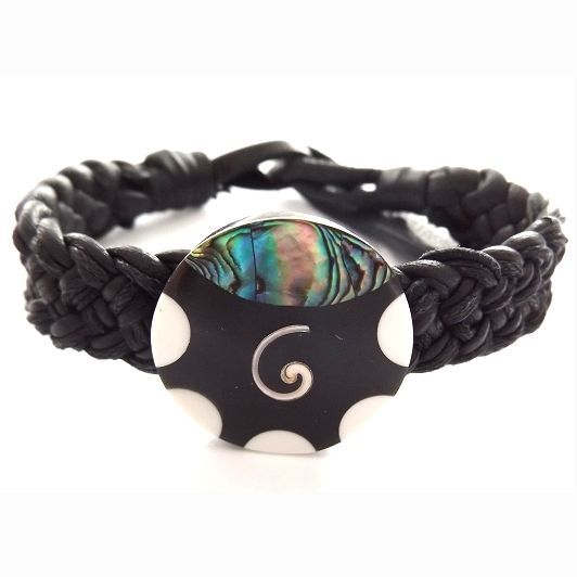 BLACK MODERN LEATHER WOVEN TIE ON FRIENDSHIP BRACELET WITH ABALONE SHELL, SWIRL