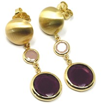 925 STERLING SILVER BIG PENDANT YELLOW EARRINGS 5cm, NUGGET, PURPLE GLASS PASTE image 2