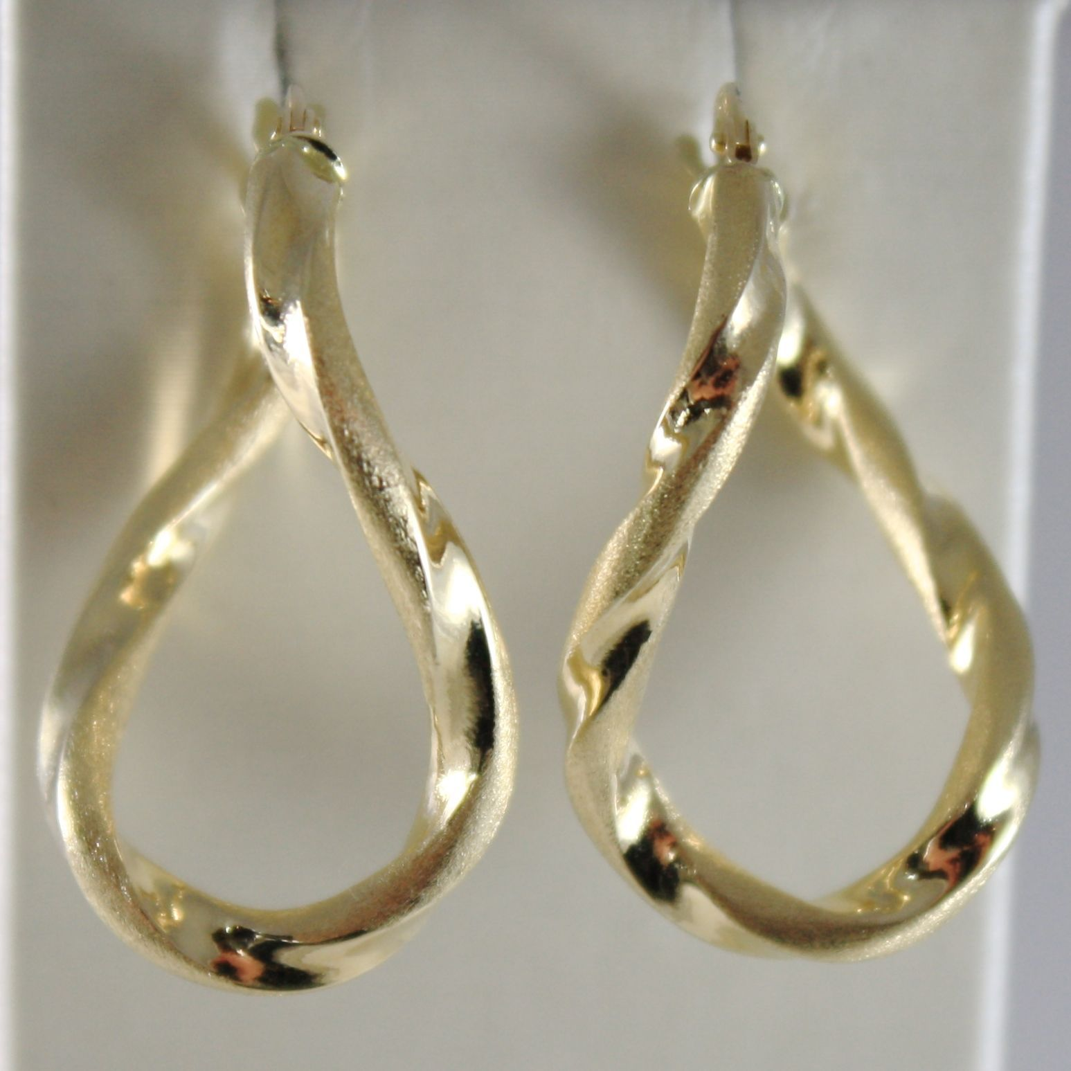 YELLOW GOLD EARRINGS 750 18K CIRCLE, WAVE, TWISTED, SHINY AND SATIN