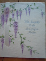Vintage With Sympathy  Loss of Mother Vellum Hallmark Greeting Card  - $3.99