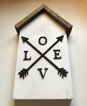 Small House Wood Decor Love and Arrow - $14.99
