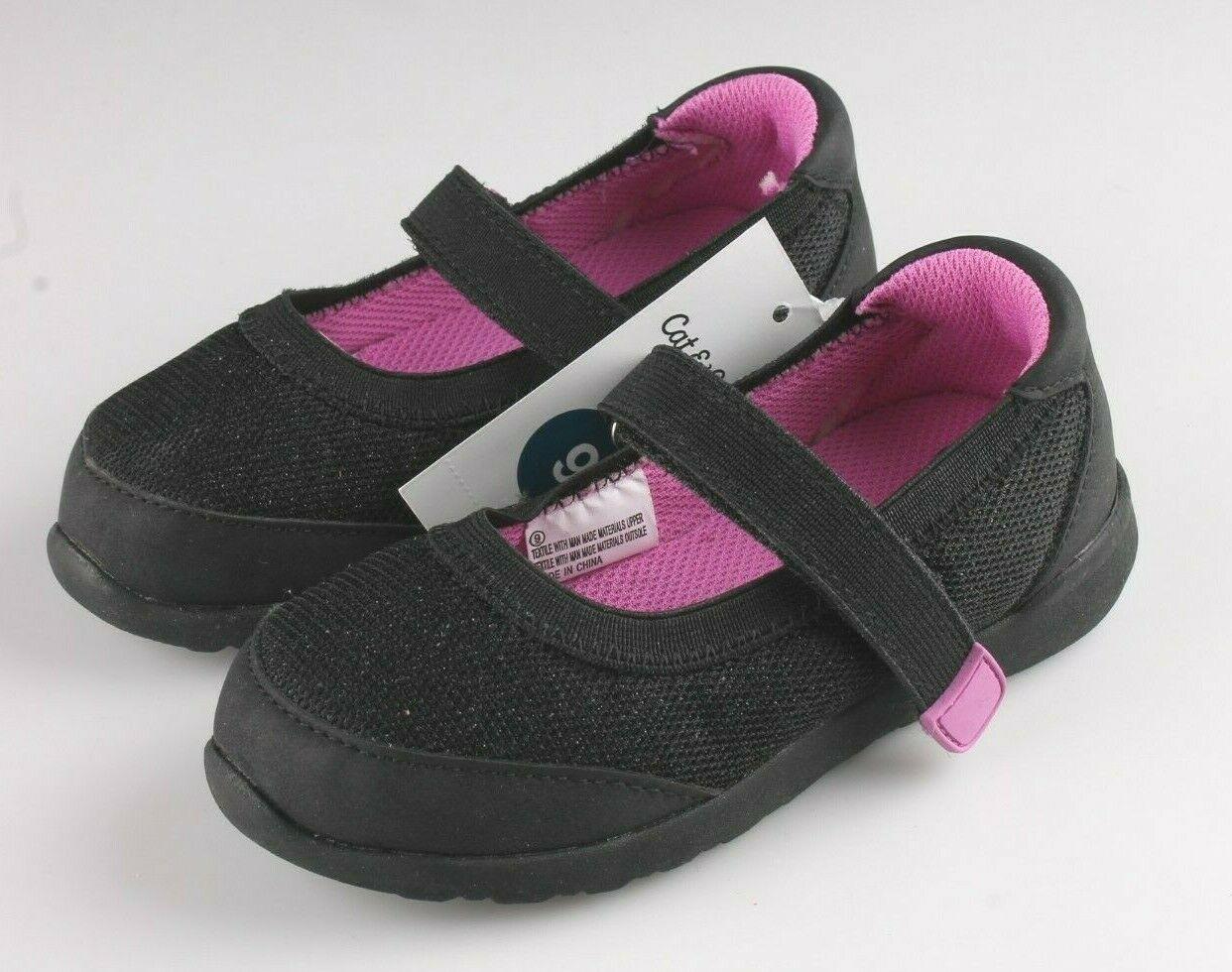 Cat & Jack Girls Black Purple Eva Slip-On Flats Sneakers Toddler Size 9 US