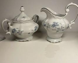 Johann Haviland Creamer  Sugar Bowl Lid White Blue Garland Bavaria Set Germany - $41.58