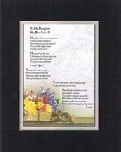 Touching and Heartfelt Poem for Daughters - To My Daughter, My Best Friend Poem  - $15.79