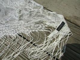 """Cejon Ivory Triangle 7"""" Tassel Lacy Scarf Wrap Shawl Beautiful Dressy NICE! - £11.33 GBP"""
