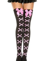 Black/Pink Bow & Bones Thigh Highs Rave Festival Exotic Outfit Clothes C... - $9.79