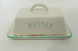 "Old East Main Porcelain Covered Butter Dish Floral Bottom ""BUTTER"" Name ... - $18.26"
