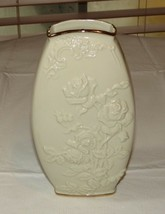 """Lenox Handcrafted Vase Cream Color with Imbossed Roses Gold Trim 7 3/4"""" ... - $32.06"""