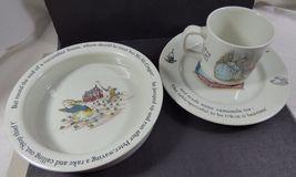 Wedgwood England Peter Rabbit Children 3 Piece Nursery story Set bowl plate cup image 11