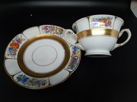 Rosenthal Cream Soup cup and saucer heavy gold with flowers very good co... - $15.00