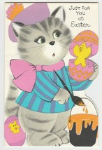 Vintage Easter Card Cat Paints Egg Chick American Greetings Unused Envelope - $9.89