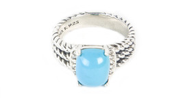 DAVID YURMAN Petite Wheaton Ring Turquoise & Diamonds 4mm Sz 6 - $220.50