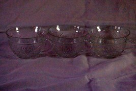 Hocking Glass Flared Rim Sandwich Clear Set of 3 Punch Bowl Cups - $8.99