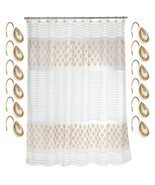 Bathroom Shower Curtain and Hooks Set- Beige/Gold Popular Bath Seraphina - $38.99