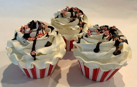 Peppermint Chocolate Drizzle Cupcakes Set of 3- Faux Cupcake fake food  - $24.74
