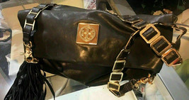 TORY BURCH Fold over Clutch Cross body Bag Black - $345.00