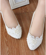 Women Wedding Shoes,Pearl Lace Ivory White Bridesmaid Shoes US 4,5,6,7,8... - £30.95 GBP