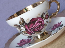 Vintage 1950's Rosina England Pink rose gold white bone china tea cup te... - $38.61