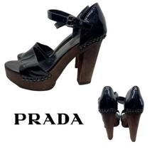 Prada Patent Leather Black Platform Sandals Heels Sz 39 = Us Sz 9 $750 - $198.00