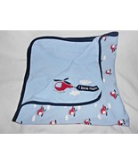 Gymboree 2012 Baby Helicopter Blanket I Love Mom Blue Red Cotton Boy - $29.68