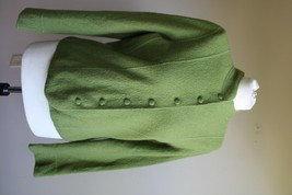 Talbots M P Petite Green Button Front Boiled Wool Blazer Jacket - $30.40