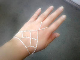 Bohemian Slave Bracelet Silver Net Hand Chain Caged Hand Chain Silver Sl... - $58.00