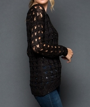 Black Sequin Sweater, Black Sequin Sweaters, Loose Knit Sweater, GeeGee, Womens image 5
