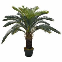 "vidaXL Artificial Plant Cycas Palm with Pot Green 35.4"" Faux Plant Leaf ... - $74.99"