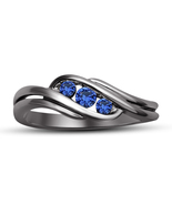 Three Stone Blue Sapphire Womens Engagement Ring 14k Black Gold Over 925... - £55.65 GBP