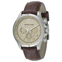 Michael Kors Men's Watch Stainless Steel Leather Chronograph Beige Dial MK8115 - $168.00