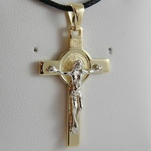 18K YELLOW WHITE GOLD CROSS WITH JESUS & ST SAINT BENEDICT MEDAL MADE IN ITALY image 1