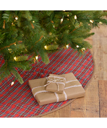 Classic cherry red-base tartan plaid Christmas Tree Skirt herringbone fe... - $57.95+