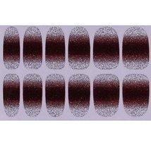 Set of 6 Stylish Bright Gradient Glittery Nail Art Stickers, Brown image 2